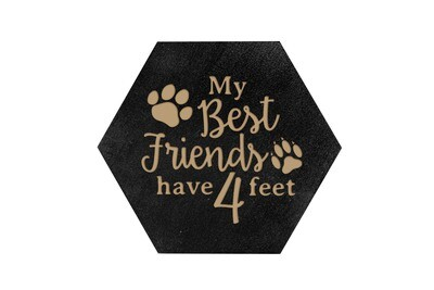 My Best friends have 4 Feet HEX Hand-Painted Wood Coaster Set