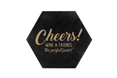 Wine & Friends the Perfect Pair or Your Custom Saying HEX Hand-Painted Wood Coaster