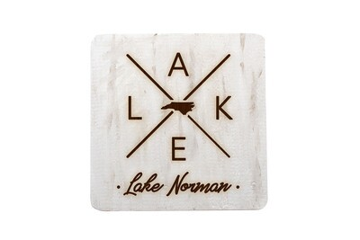 Customized State Shape with LAKE Hand-Painted Wood Coaster Set