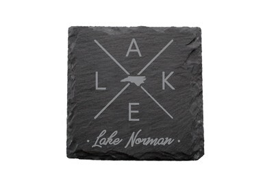 Customized State Shape with LAKE Slate Coaster Set