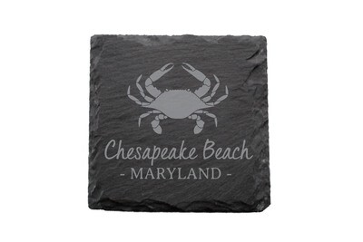 Crab & Customized Location Slate Coaster Set