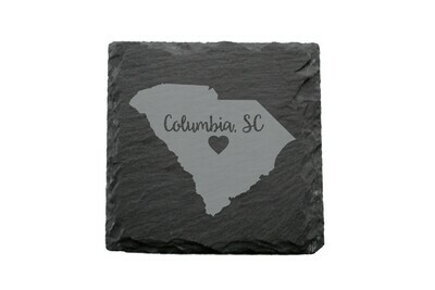 Custom State Shape - Heart Represents City Location Slate Coaster Set