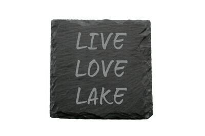 Live Love Lake or Any Custom Words Slate Coaster Set
