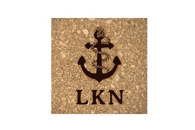 Anchor w/Rope & Custom Location Cork Coaster Set
