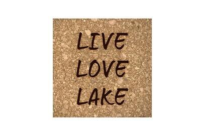 Live Love Lake or Any Custom Words Cork Coaster Set