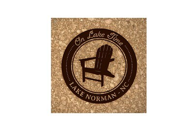 On Lake Time w/Chair & Customized Location Cork Coaster Set