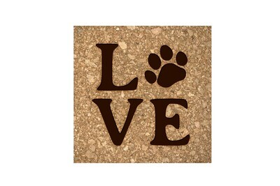 LOVE with Dog or Cat Paw Print Cork Coaster Set