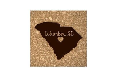 Custom State Shape - Heart Represents City Location Cork Coaster Set