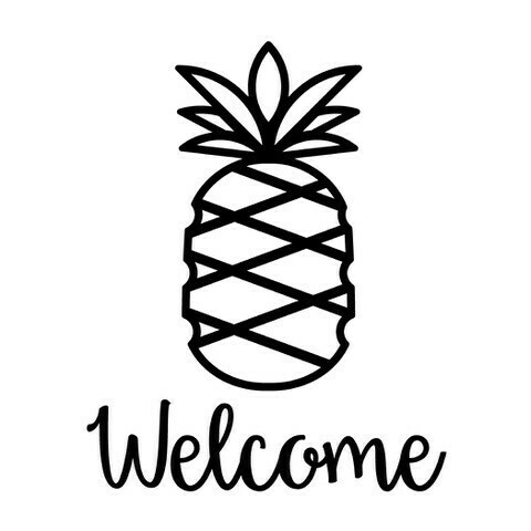 Pineapple w/Welcome or Your Custom Word Wine Glass 19 oz