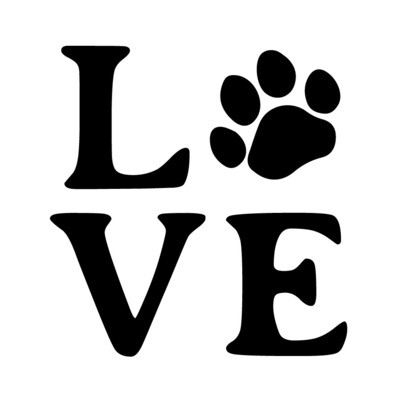 LOVE with Dog or Cat Paw Print Leatherette Coaster