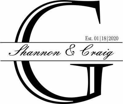 Custom Decorative Initial w/Names & Date Slate Coaster Set