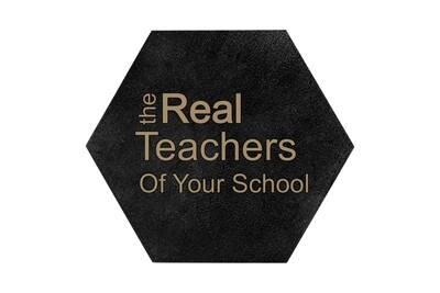 The Real Teachers of (Add Your School) HEX Hand-Painted Wood Coaster Set
