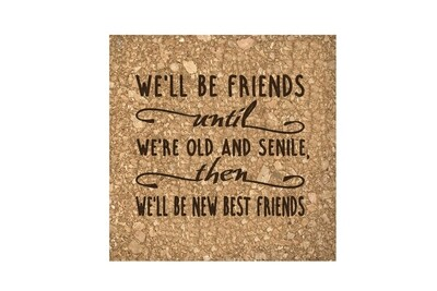We'll Be Friends until We're Old and Senile, then We'll be New Best Friends Cork Coaster Set