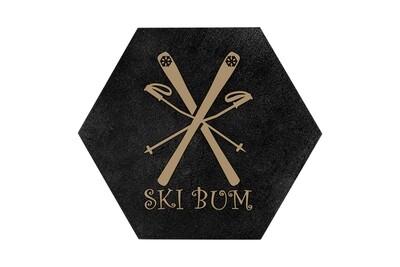 Ski Bum HEX Hand-Painted Wood Coaster Set