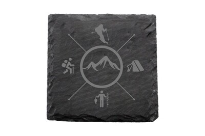 Skier with Outdoor Themes Slate Coaster Set