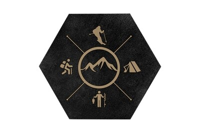 Skier with Outdoor Theme HEX Hand-Painted Wood Coaster Set