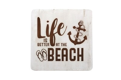 Life is Better at the Beach or Lake Hand-Painted Wood Coaster Set