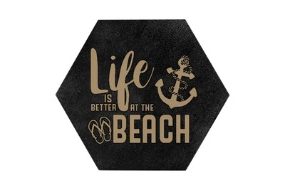 Life is better at the beach/lake HEX Hand-Painted Wood Coaster Set