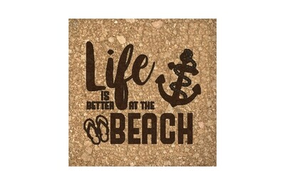 Life is Better at the Beach or Lake Cork Coaster Set