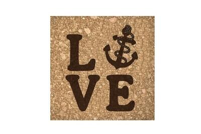 Love with Anchor Cork Coaster Set
