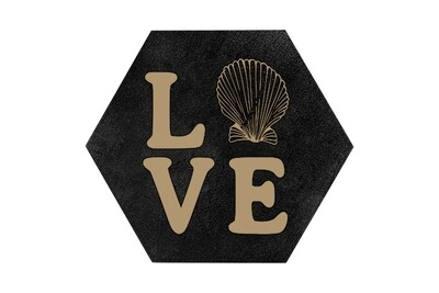 Love with Seashell HEX Hand-Painted Wood Coaster Set