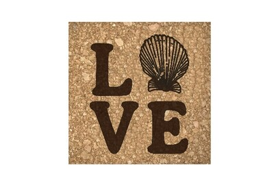 Love with Seashell Cork Coaster Set