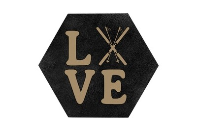 Love with Skis HEX Hand-Painted Wood Coaster Set