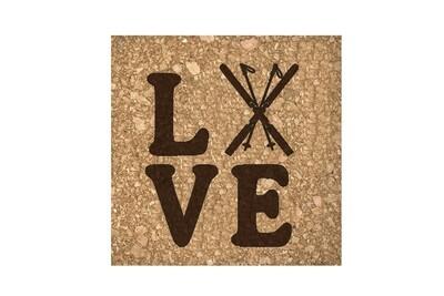 Love with Skis Cork Coaster Set