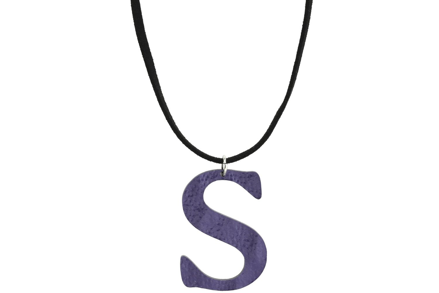 Sculpted Alphabet Pendant with Suede Leather Cord Necklace