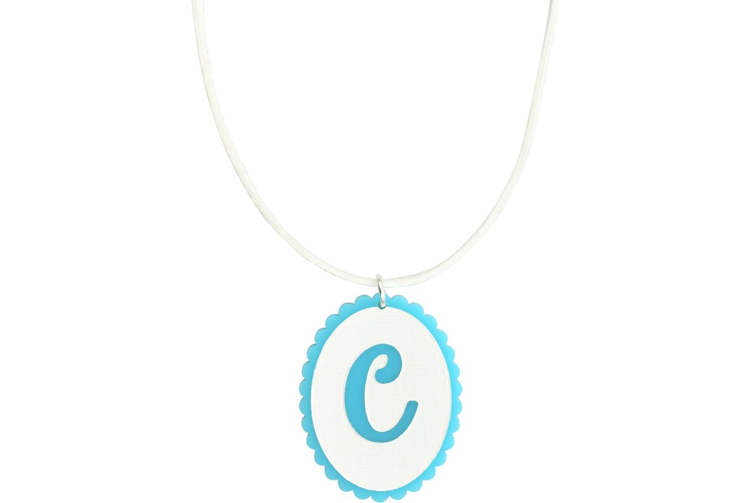 Scallop Initial Pendant with Suede Leather Cord Necklace