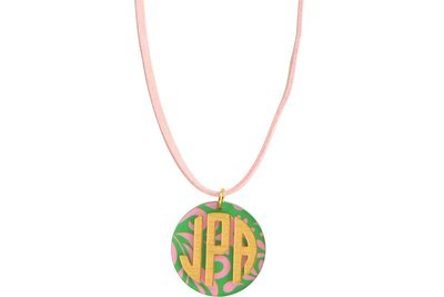 Traditional Monogram with Suede Leather Cord Necklace
