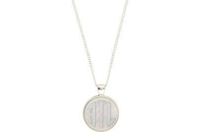 Classic Style Bezel Monogram Pendant with Chain Necklace