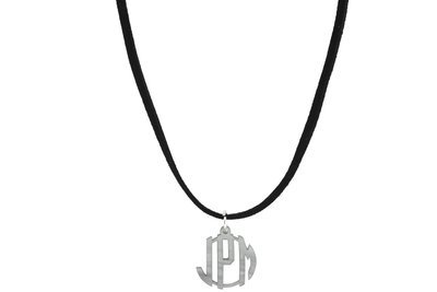 Clean Block Monogram with Suede Leather Cord Necklace