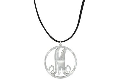 Scroll Initial Pendant with Suede Leather Cord Necklace