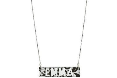Custom Name Or Word Bar Plaque with Duo Necklace