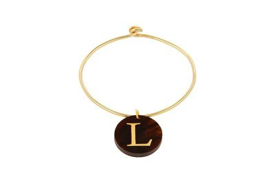 Alphabet Charm with Sterling Silver Bangle Bracelet with Yellow Gold Plating