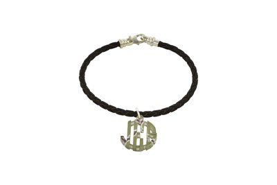 Clean Block Monogram with Decorative Braided Leather Cord Bracelet
