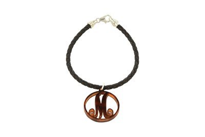 Scroll Initial with Decorative Braided Leather Cord Bracelet