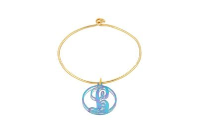 Scroll Initial with Sterling Silver Bangle Bracelet with Yellow Gold Plating