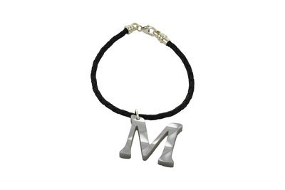 Sculpted Alphabet Charm with Decorative Braided Leather Cord Bracelet