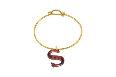 Sculpted Alphabet Charm with Decorative Wire Bracelet