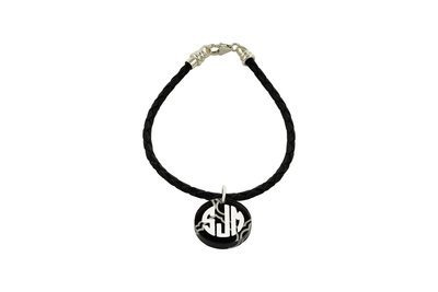 Traditional Monogram Charm with Decorative Braided Leather Cord Bracelet