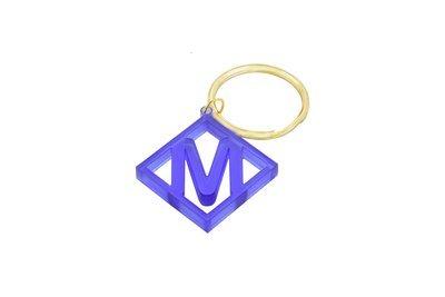 Diamond Initial Key Ring