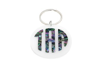 Mother of Pearl Monogram Key Ring