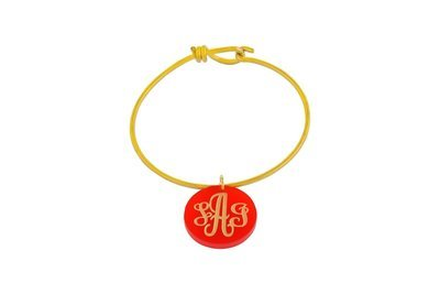 Traditional Monogram Charm with Decorative Wire Bracelet