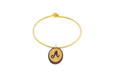 Scallop Alphabet with Sterling Silver Bangle Bracelet with Yellow Gold Plating