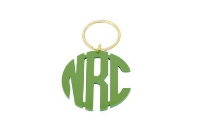 Clean Block Monogram Key Ring