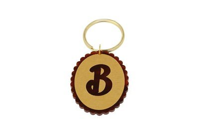 Scallop Initial Key Ring
