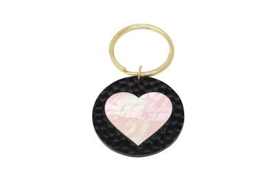 Mother of Pearl Heart Key Ring