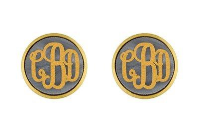 Bezel with Monogram Earring